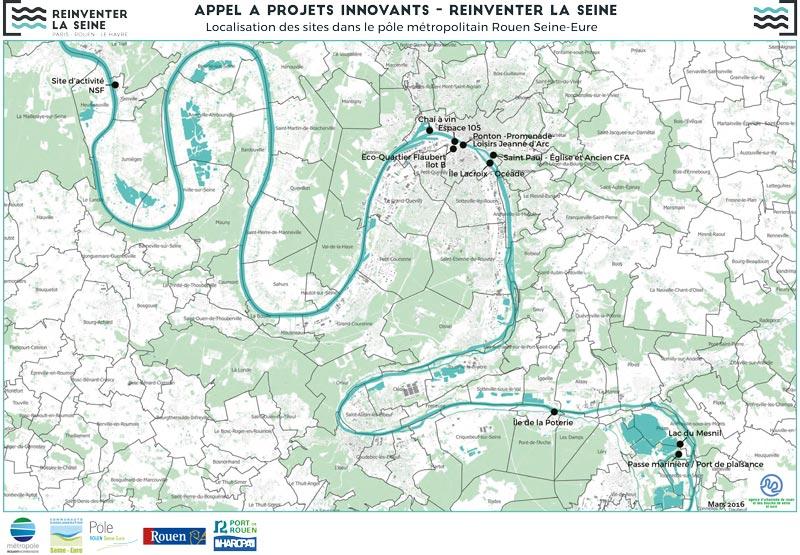 Réinventer la Seine - Localisation des sites du pôle métropolitain Rouen Seine Eure