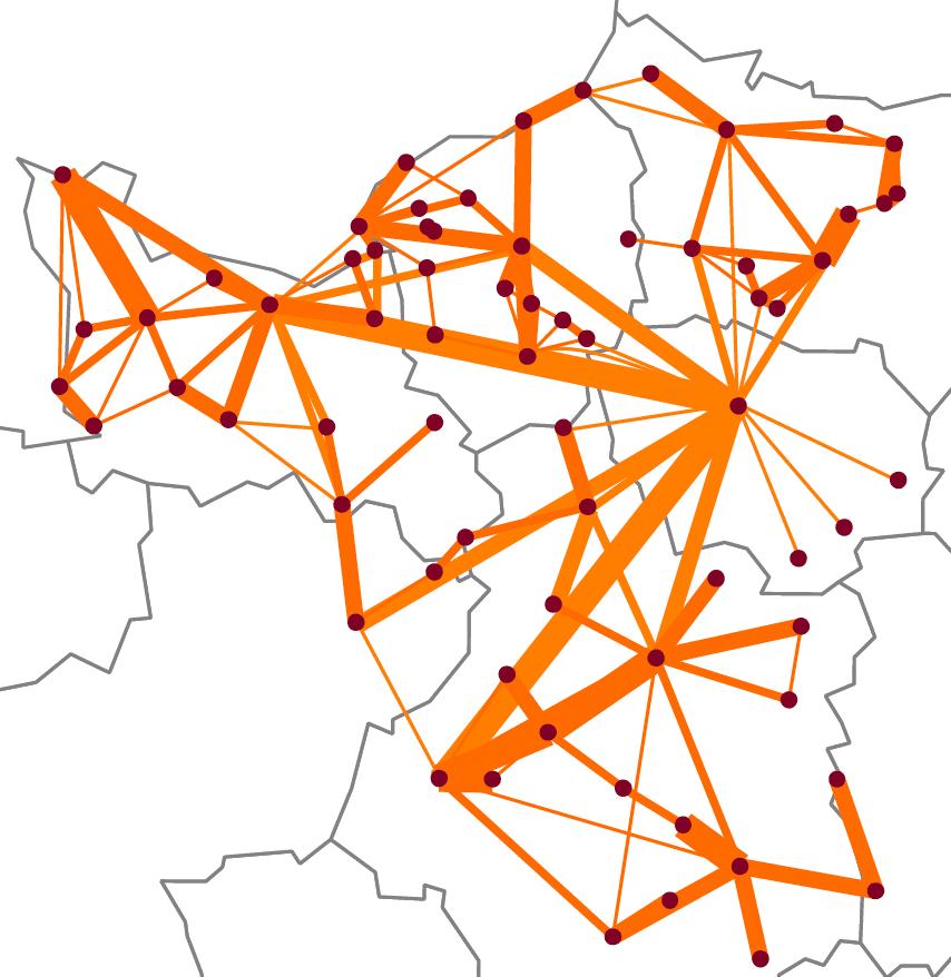 Système urbain de proximité de Paris. Source : DATAR, 2012