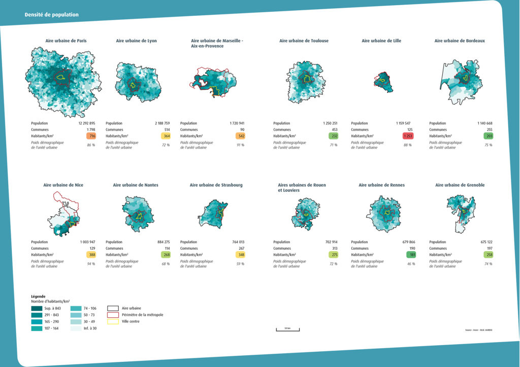Taille et densité de 12 métropoles française. Aurbse 2015