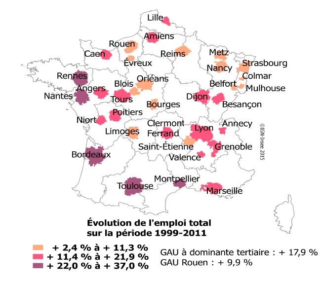 Evolution de lemploi des Grandes aires urbaines tertiaires entre 1999-2011. Sources : INSEE, 2016