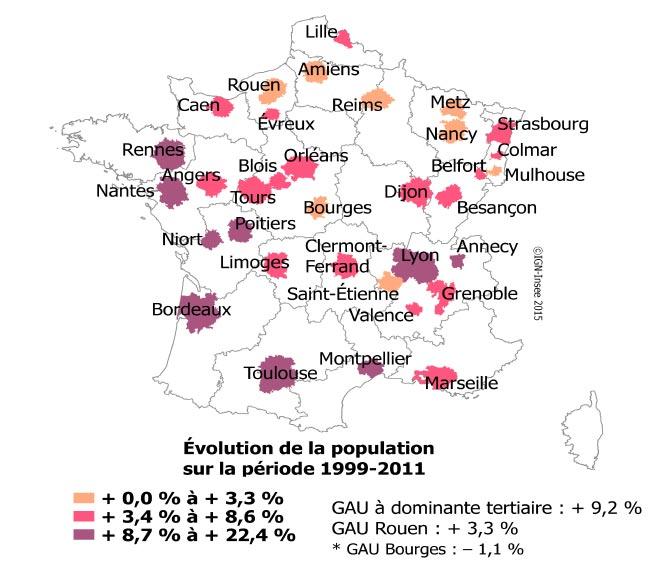 Evolution de la population des Grandes aires urbaines tertiaires entre 1999-2011. Sources : INSEE, 2016