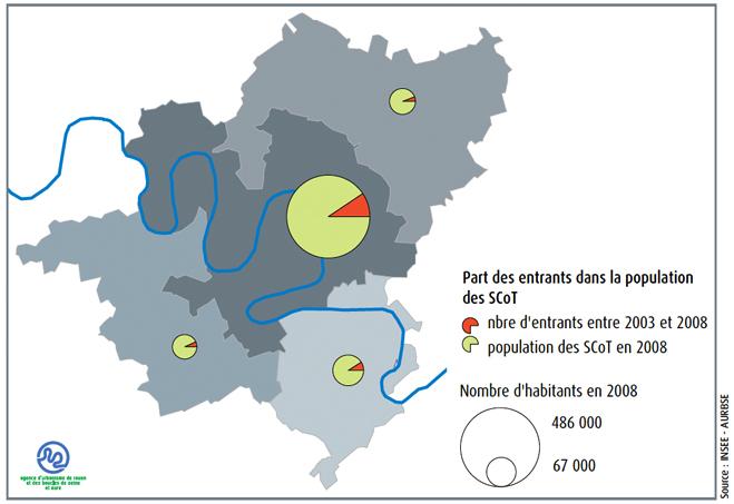 Personnes venues s'installer dans le bassin de vie de rouen entre 2003 et 2008