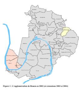 Perimetre de l'agglomération Rouennaise en 2002 (Source : OSCAR 1994-2002)