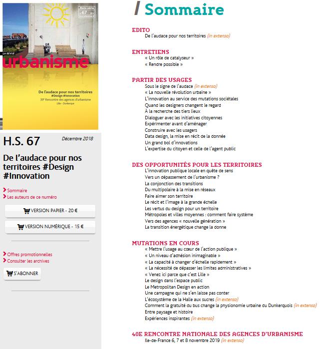 Capture Urbanisme HS n°67 Sommaire