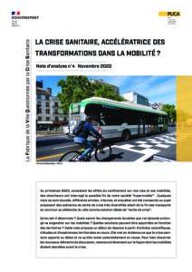 Note d'analyse #4 - La crise sanitaire, accélératrice des transformations dans la mobilité ? - novembre 2020